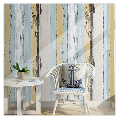 "HaokHome H005 Wood Panel Peel and Stick Wallpaper 23.6"" x 19.7ft Yellow/Lt.Blue/Black/Cream Self Adhesive Contact Wall Decoration"