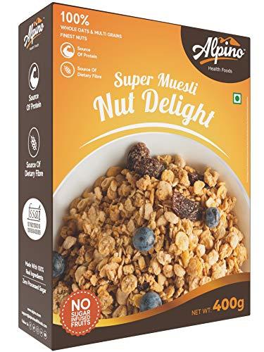 Alpino Super Muesli Nut Delight 400 G | Whole Oats & Whole Grain | Finest Nuts & Raisins | Real Freeze Dried Fruits | No Sugar...