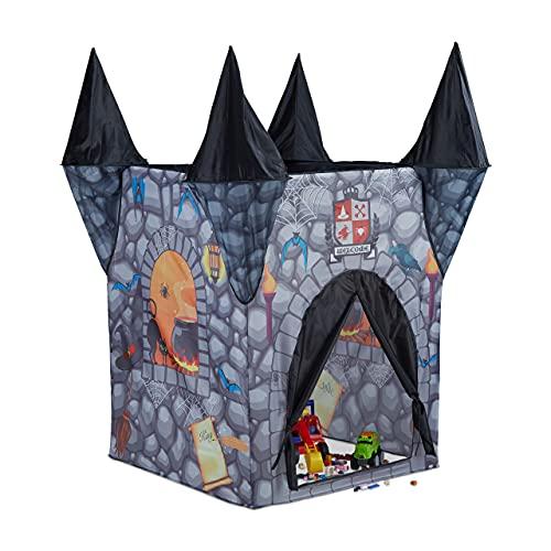 Relaxdays Tienda Infantil del Castillo del Terror, Casa Juguete para Niños, Poliéster, 132 x 110 x 110 cm, Negro, color (10022463)