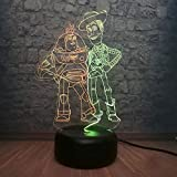 Mixed Dual Color Toy Story Buzz Lightyear Woody Friends Cute USB 3D Bedside Lamp RGB Illusion Baby Sleeping Night Light Decor Kids Toy