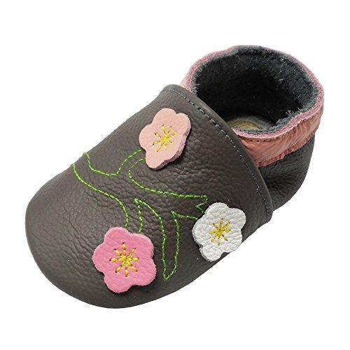 YALION Baby Mädchen Weiches Leder Lederpuschen Kleinkinder Krabbelschuhe mit Süßen Blumen Dunkelgrau,12-18 Monate