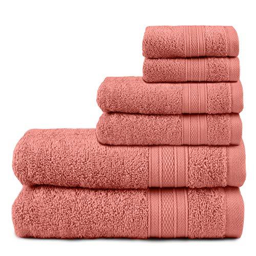 TRIDENT Juego de Toallas de baño, 100% algodón Juego de 6 Piezas Toallas de baño, súper Suaves, Muy absorbentes, 500 gsm, Lavables a máquina - Colección Suave y Felpa - Coral Haze