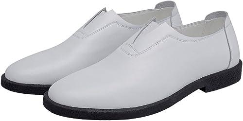 XHD-Chaussures Souliers Simples en Cuir véritable pour pour pour Hommes Mocassins Occasionnels Richelieus doublés à Bout Pointu (Couleur   Blanc, Taille   6.5MUS) 72d