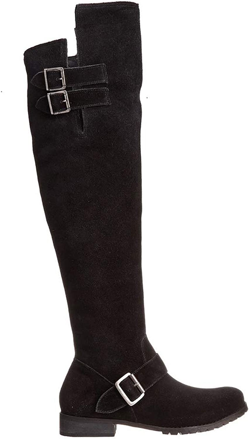 Long Tube Rider Boots, Low Heel Suede 'High' and Knee Boots