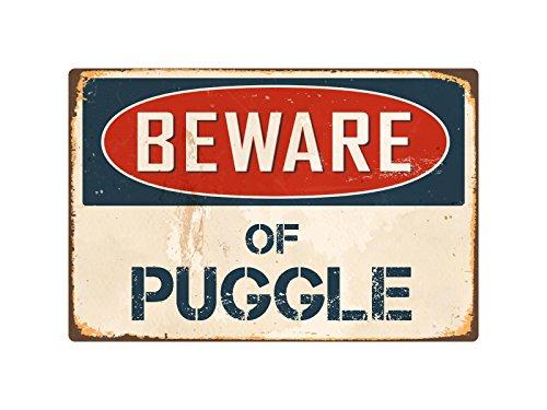 """StickerPirate Beware of Puggle 8"""" x 12"""" Vintage Aluminum Retro Metal Sign VS346"""