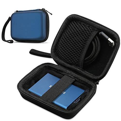 ProCase Estuche para Samsung T5/T3/T1, Funda Rígida de Transporte para Disco Duro Externo SSD 250GB 500GB 1TB 2TB SSD USB 3.1 Unidad Estado Sólido -Azul