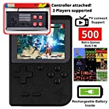 DigitCont Retro Mini Handheld Arcade, Built-in with 500 Classic Games 2 Players Mode Miniature Console Handheld Portable Game Cabinet Machine Rechargeable Battery Inside Support Connect TV Black