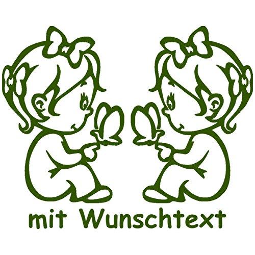 Babyaufkleber für Zwillinge mit Wunschtext - Motiv Z13-MM (16 cm)