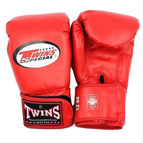 HEEHEE 10 12 14 Oz Guantes de Boxeo PU Cuero Muay Thai Guantes Free Fight MMA Sandbag Guante de Entrenamiento para Hombres Mujeres Niños 4 Colores 14 oz Rojo