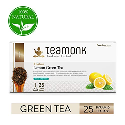 Teamonk Yoshin Nilgiri té verde de limón - 30 bolsitas de té   té para la relajación   té refrescante   té de ralladura de limón natural   sin aditivos