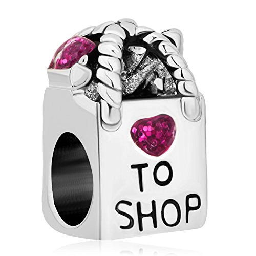 Pugster Antique Shopping Bag Heart Love to Shop Purple Birthstone Crystal Charm Beads Fit Pandora...