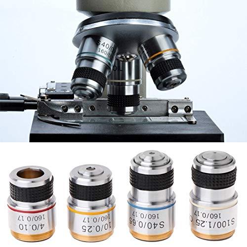 Manyao Lente Objetivo acromático 4X 10x 40x 100x para microscopio biológico 185 ls'd Herramienta (Magnification : 4X)