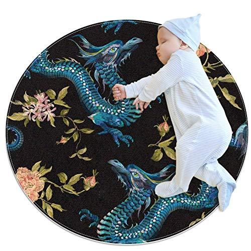 rogueDIV Kinderzimmerteppich, orientalisches Blumenmuster mit Drachen und goldenen Rosen, runder Kinderteppich, Spielteppich für Kleinkinder, Jungen und Mädchen, weicher Teppich, 100 x 100 cm