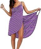 HSWYJJPFB Poncho Surf Bikini Cover Up para Mujer Traje de baño Sexy Spaghetti Strap Backless Fashion Stripe Wrap Beach Dress Plus Size Towel Robe 0207(Color:Purple;Size:XL-Xlarge)