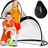 Bolt Genix Small Portable Soccer Goals - Pop Up Goals Set of 2 | Made for Toddlers, Teenagers and Pros | Works on Concrete, Carpet, Grass, Sand, and Turf | All Weather Durability - Easily Pack and Store