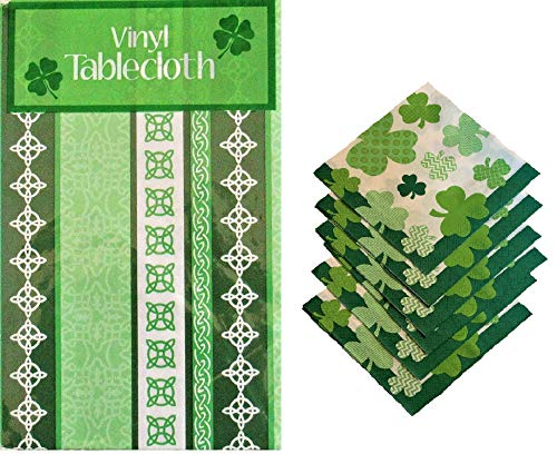 St. Patrick's Day Celtic Irish Knot Green White Pattern Flannel-Backed Vinyl Table Cover + Matching Napkins - Tablecloth 52' x 90' (Bundle)