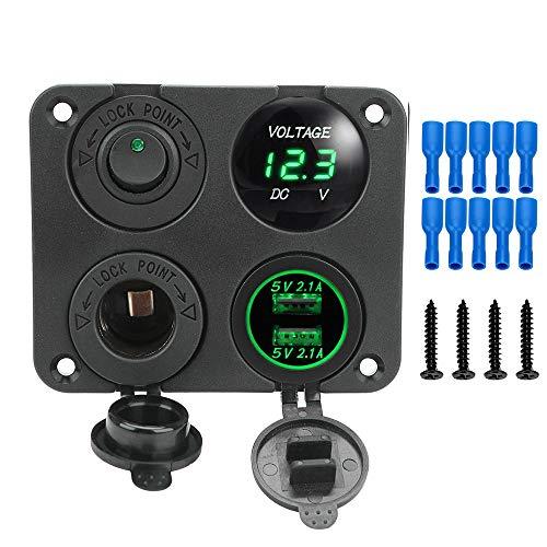LOVELIN Lovelin17 12V Impermeable Voltímetro Digital Doble USB Outlet Outlet Combinación Coche Marine Barco LED Rocker Switch Panel (Color : Yellow)