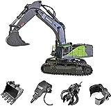 s-idee® S1593 + 3 Aufsätze Ferngesteuerter Kettenbagger 1593 mit voller Funktion, Bagger mit Fernsteuerung und Metallschaufel ferngesteuert mit Akku und Ladegerät Huina 1593