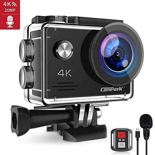 Campark 4K 20MP Action Cam con EIS Telecomando Microfono Esterno WiFi Videocamera Subacquea 40M 2 Batterie e Kit Accessori Compatibile con gopro