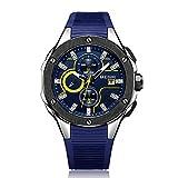 MEGIR Relojes para Hombre Deportivo, Relojes Silicona Azul con Calendario Reloj de Pulsera de Cuarzo para Hombres, Resistente al Agua, Luminoso