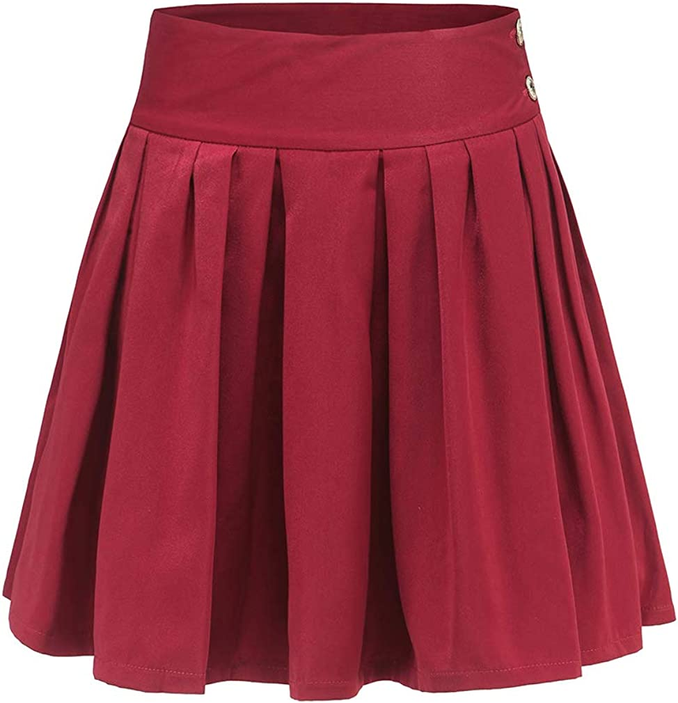 Chowsir Women Casual Side Button A-Line Short Accordion Pleated Mini Skirt with Pockets