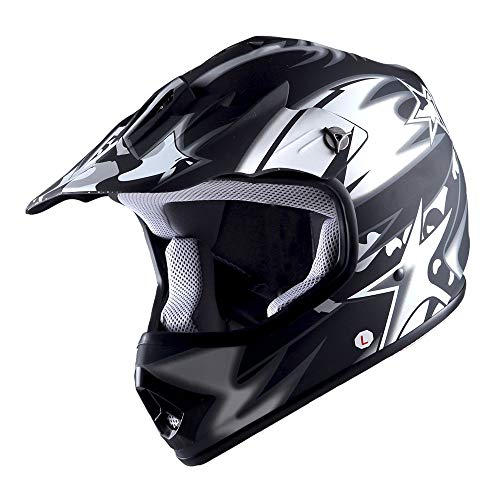 WOW Youth Kids Motocross BMX MX ATV Dirt Bike Helmet Star Matt Black