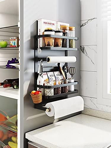 Wydgs Caja de almacenamiento de imán para nevera de cocina con marco magnético para colgar en la pared, estante lateral de película fresca (color: estante de nevera de una sola capa)