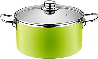 Monix Lima - Cacerola alta 24 cm de acero esmaltado verde con antiadherente Teflon® Classic.