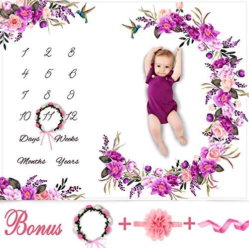 Baby Monthly Milestone Blanket Girl - Floral Plush Fleece Baby Photography Backdrop Memory Blanket for Newborns Large - New Moms Set - 100% Wrinkle-Free - Bonus Wreath + Headband