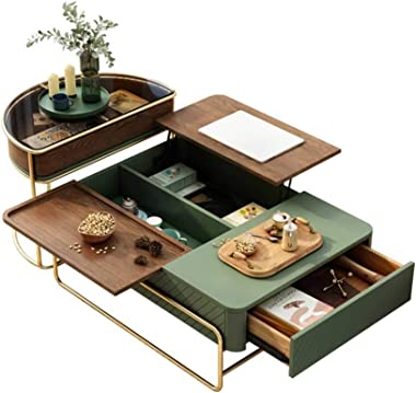 Wood and Metal Cocktail Table - Modern Lift Top Coffee Table with Hidden Compartment, Storage Drawer and Solid Wood Legs - En