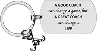 Sportybella Field Hockey Coach Keychain, Field Hockey Coach Gifts, A Good Coach Can Change a Game But a Great Coach Can Change a Life Stainless Steel Keychain