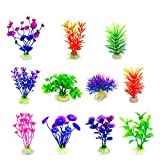 CousDUoBe Artificial Aquatic Plants 11 Pcs Small Aquarium Plants Artificial Fish Tank Decorations,Used for Household and Office Aquarium Simulation Plastic Hydroponic Plants