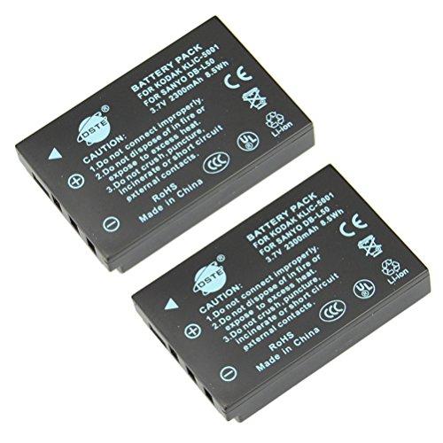 DSTE 2-Pieza Repuesto Batería para KODAK KLIC-5001 EasyShare P880 Z730 Z7590 Z760 DX6490 Z760 DX7440 DX7590 DX7630 Z7590 P850 DX7440 Z730 Z730 P712 SANYO Xacti DMX-WH1 VPC-HD2000 DMX-HD1010 DMX-FH11 VPC-WH1 DMX-HD2000 VPC-HD1010 VPC-HD1000 VPC-TH1