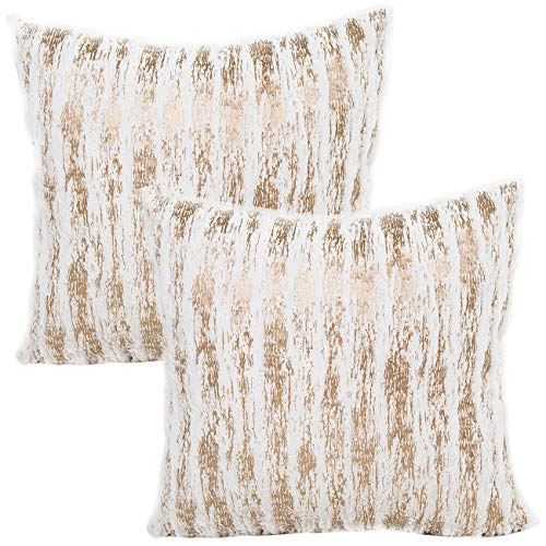 Treely Decorative Throw Pillow Covers Furry Decor Modern Shining Striped Pillow Cover Cases 17x17 Inches for Couch Sofa Bedroom(2 Pack,Brown-White)