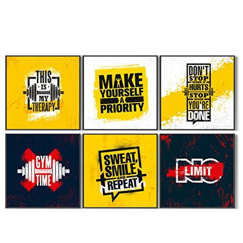 Gym Decor Gifts   Set mit 6 inspirierenden Postern   27,9 x 27,9 cm Wandkunst-Poster für Fitness-Enthusiasten   Perfektes Workout-Liebhaber Geschenk   Einzigartige Motivationsdrucke für Heimdekoration