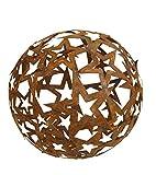 Bornhöft Sternen Kugel 30cm Metall Rost Gartendeko Edelrost rostige Gartendekoration Gartenkugel Rosenkugel Weihnachten