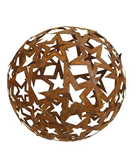 Bornhöft Sternen Kugel 40cm Metall Rost Gartendeko Edelrost rostige Gartendekoration Gartenkugel Rosenkugel Weihnachten