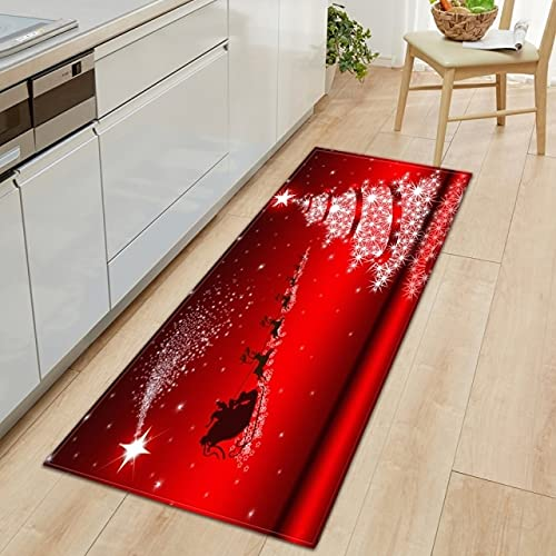 xuyuandass Christmas Kitchen Carpet Bedroom Entrance Door Mat Balcony Corridor Long Floor Mat 3D Pattern Home Bathroom Non-Slip Flannel Carpet 60X180Cm D9866
