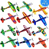 8' Airplane Toy,12 Different Designs Planes Toys For Boys,Foam Glider Planes Toys,Birthday Favors Lightweight Paper Airplanes,Individually Packed Outdoor Flying Toys,Party Favors For kids 8-12(12 PCS)