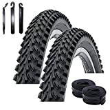 "Maxxi4you - Set di 2 pneumatici Kenda K-898 da 26"" per mountain bike, rivestimento nero 50-559 (26 x 1,95) + 2 camere d'aria compatibili AV con 3 leve per pneumatici"