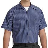 Red Kap Men's Industrial Stripe Work Shirt, Grey/Blue Stripe, Short Sleeve X-Large