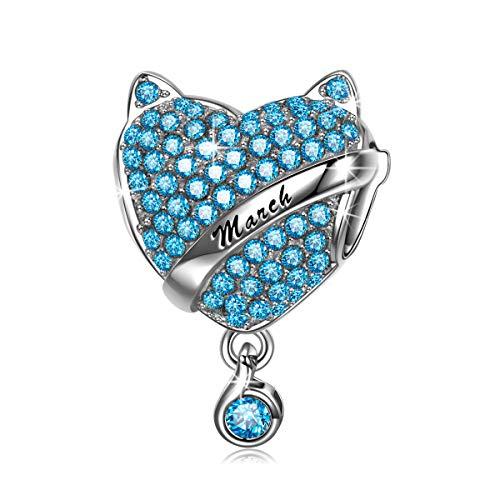 NINAQUEEN Charm Encaja con Pandora Regalos Mujer Originales Azul Piedra de Nacimiento Marzo Aguamarina Plata de Ley 925 Zirconia Abalorios para Niñas Madre Hija Esposa de Cumpleaños
