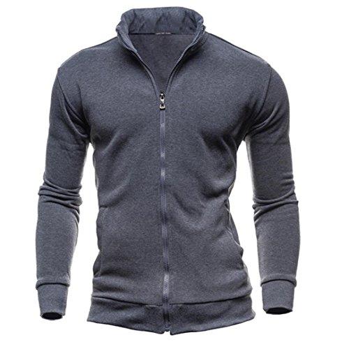 SUCES Herren Winter Freizeit Sport Cardigan Reißverschluss Sweatshirts Tops Jacke Mantel Pullover Sweater mit Schalkragen aus hochwertiger Baumwollmischung Outwear Jacket (Dark Gray, M)