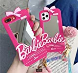Easierforyou Shipped from USA Barbie Cute Girl Mirror Make up with Chain Charm Case Compatible for iPhone 12 pro max, Cartoon 3D Cute Soft Silicone Rubber Protective Gel Back Cover