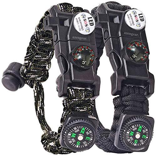 aZengear Pulsera de Supervivencia Paracord (par) - Brújula - Termómetro - Varilla de Arranque de pedernal - Luz LED SOS - Mini Herramienta - Silbato - Cuerda de Rescate - Kit de Emergencia