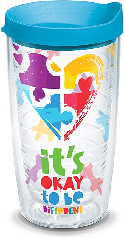 Tervis 1288317 Autism Puzzle Insulated Tumbler With Wrap Lid 16oz Tritan Clear