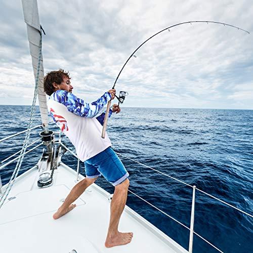 Palmyth Fishing Shirt for Men Long Sleeve Sun Protection UV UPF 50+ T-Shirts with Pocket (Largemouth bass/Flag, XX-Large)