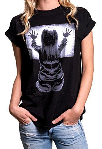 MAKAYA Top Gothic Manga Corta Ancha Impresión - Horror Poltergeist - Camiseta con Dibujos Mujer Negro M