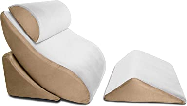 Avana Kind Bed Orthopedic Support Wedge Pillow Comfort System, 4-Piece-Set, Cloud/Camel
