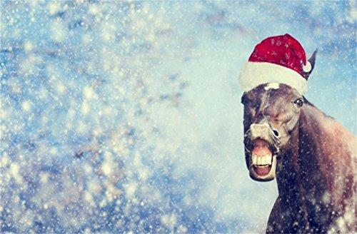 YongFoto 2,2x1,5m foto achtergrond Kerstmis Bokeh Halos vallende sneeuwvlok abstract glimlach paard met Santa hat Xmas fotografie achtergrond fotoshooting portretparty kinderen fotostudio